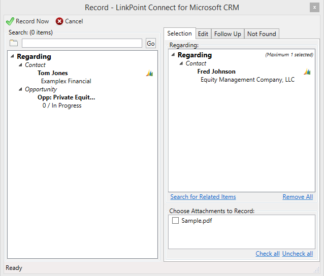 LinkPoint Connect for Microsoft Dynamics CRM computer screen preview