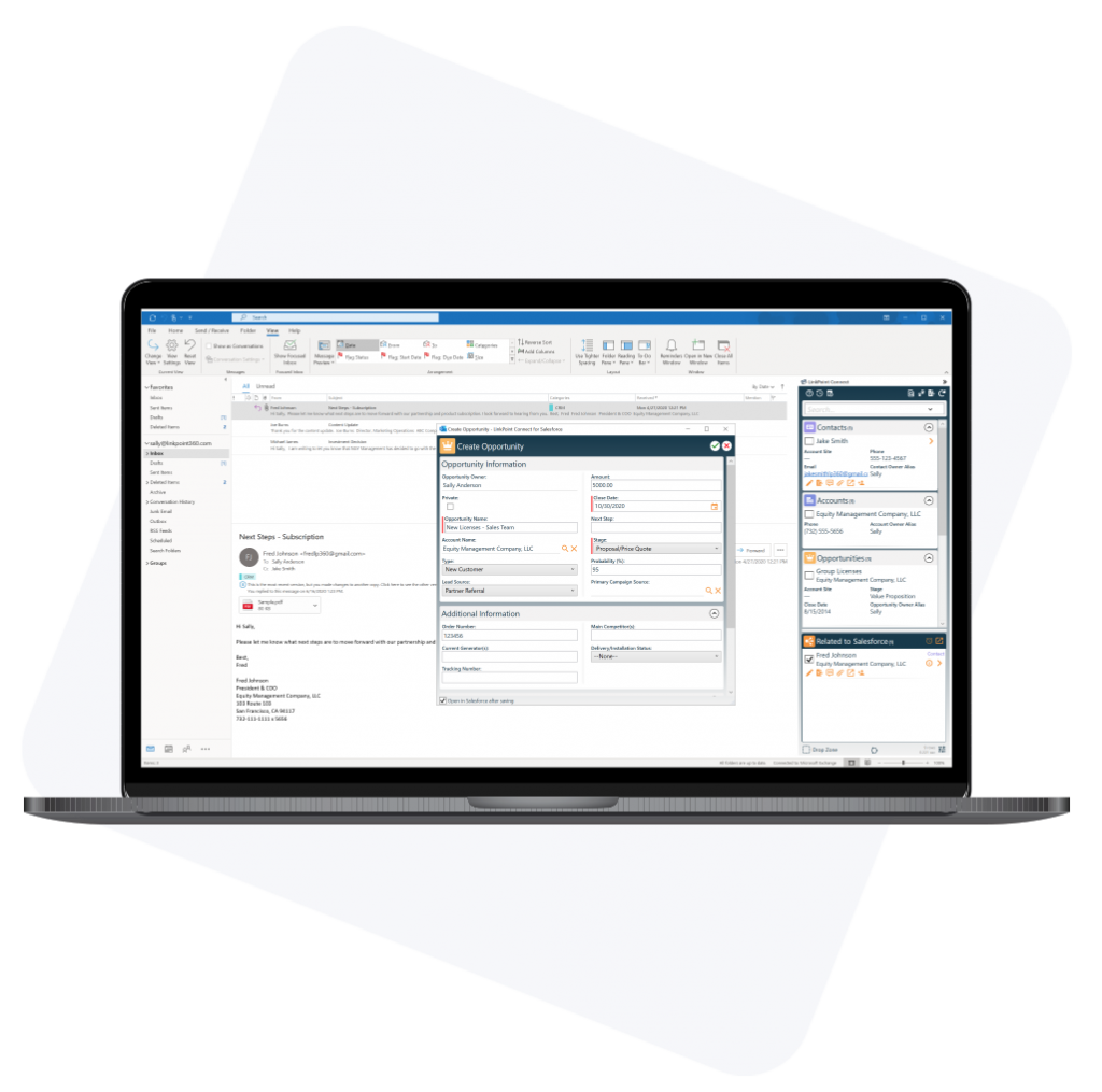 LinkPoint Connect for Salesforce CRM and email integration software graphic