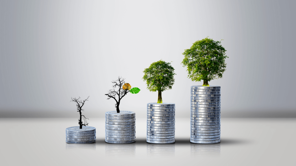 a tree is shown to grow in varying stages on different piles of coins