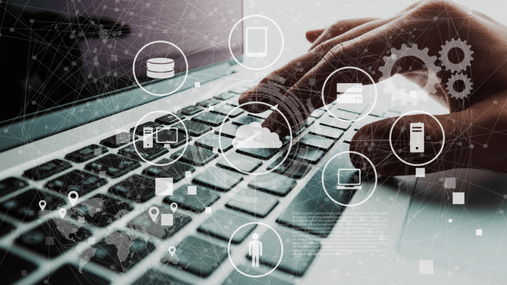 a data management web hovers over a keyboard